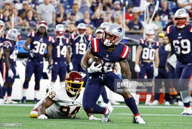 New England Patriots running back James White cuts during a preseason game between the New England Patriots and the Washington Football Team on...