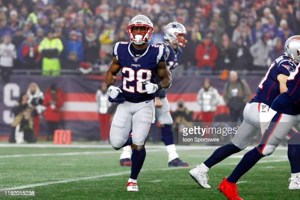 New England Patriots running back James White goes in motion during an AFC Wild Card game between the New England Patriots and the Tennessee Titans...