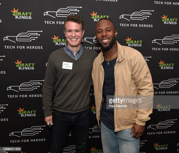 New England Patriots running back James White meets with vets and signs autographs at DraftKings Hosts Veterans Appreciation Event at MJ O'Connors on...