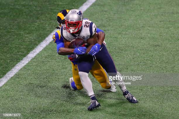 New England Patriots running back James White runs during Super Bowl LIII between the Los Angeles Rams and the New England Patriots on February 3,...