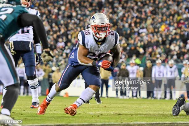 New England Patriots Running Back James White scores a touchdown during the game between the New England Patriots and the Philadelphia Eagles on...