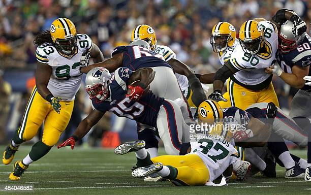 New England Patriots running back Jonas Gray dives for extra yardage on this carry in the first quarter The New England Patriots played the Green Bay...