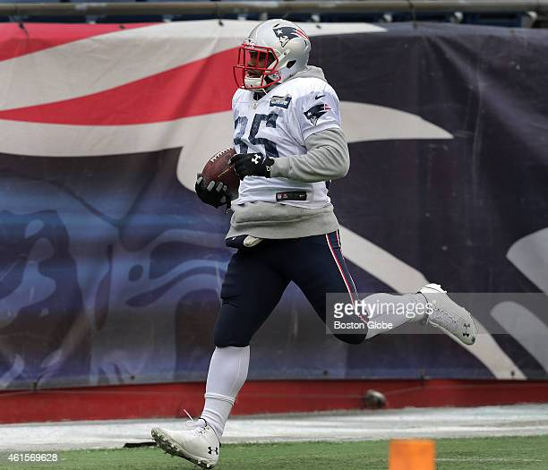 New England Patriots running back Jonas Gray during drills Gray had a career day when the Patriots last faced the Indianapolis Colts The New England...