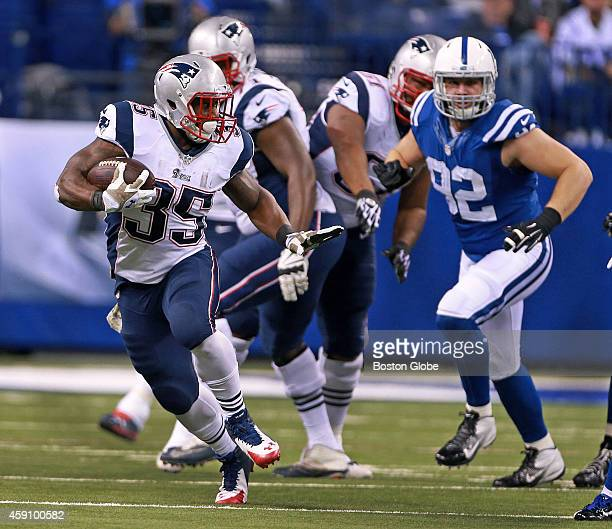 New England Patriots running back Jonas Gray runs for some of the 199 yards he gained during the game The New England Patriots took on the...