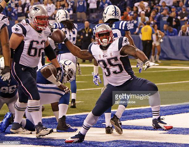 New England Patriots running back Jonas Gray spikes the ball after his touchdown run in the second quarter The New England Patriots took on the...