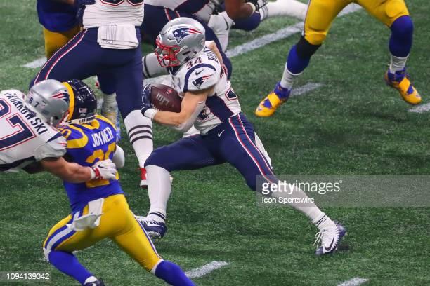 New England Patriots running back Rex Burkhead during Super Bowl LIII between the Los Angeles Rams and the New England Patriots on February 3 2019 at...