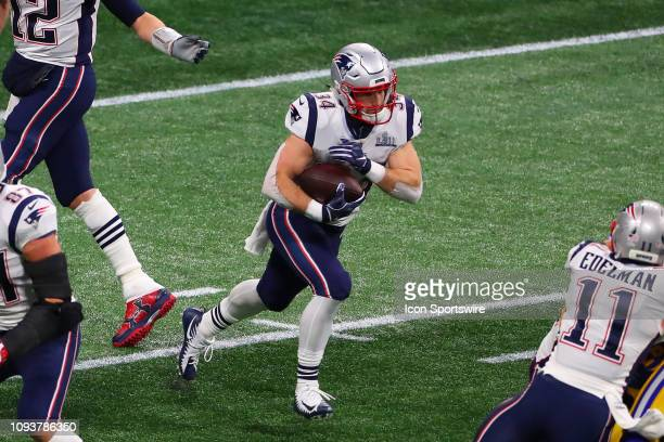 New England Patriots running back Rex Burkhead runs during the first quarter of Super Bowl LIII between the Los Angeles Rams and the New England...
