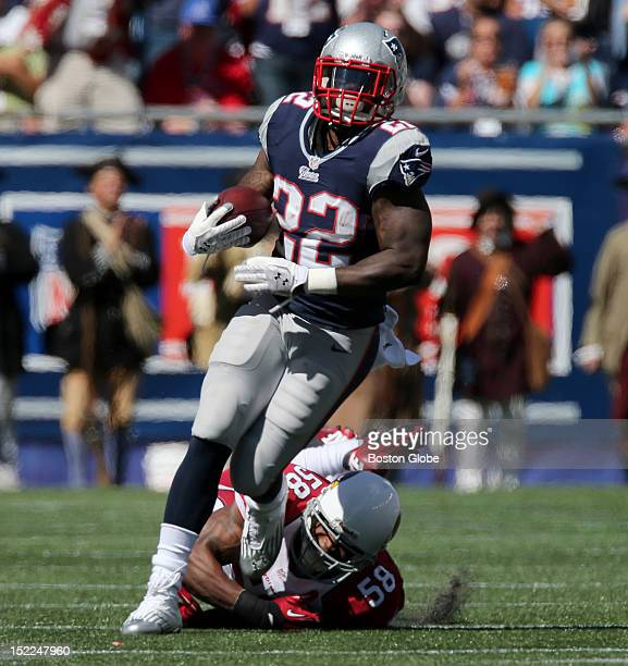 New England Patriots running back Stevan Ridley breaks free for a long run for first down at the end of the first quarter as the New England Patriots...