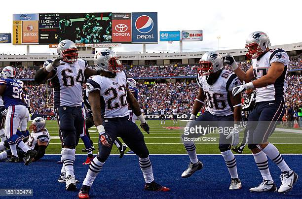 New England Patriots running back Stevan Ridley celebrates his two-yard run for a touchdown to give the Patriots a 35-21lead in the fourth quarter as...