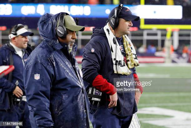 New England Patriots running backs Coach Ivan Fears and New England Patriots special teams coordinator / wide receivers coach Joe Judge during a game...