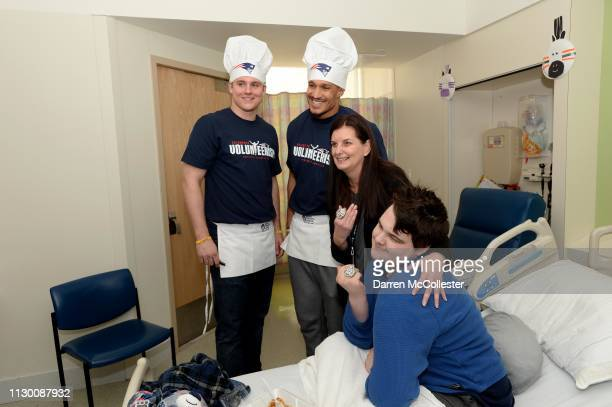 New England Patriot's Ryan Izzo and Derek Rivers hang with Tyler and Mom at Boston Children's Hospital March 12, 2019 in Boston, Massachusetts.