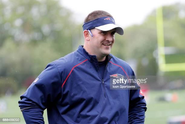 New England Patriots special teams coach Joe Judge during New England Patriots OTA on May 25 at the Patriots Practice Facility in Foxborough...