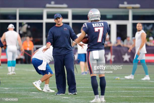 New England Patriots special teams coordinator / wide receivers coach Joe Judge instructs New England Patriots punter Jake Bailey before a preseason...