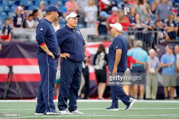 New England Patriots special teams coordinator / wide receivers coach Joe Judge and New England Patriots head coach Bill Belichick before a preseason...