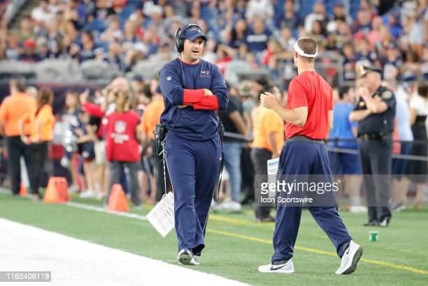 New England Patriots special teams coordinator / wide receivers coach Joe Judge prowls the sidelines before a preseason game between the New England...