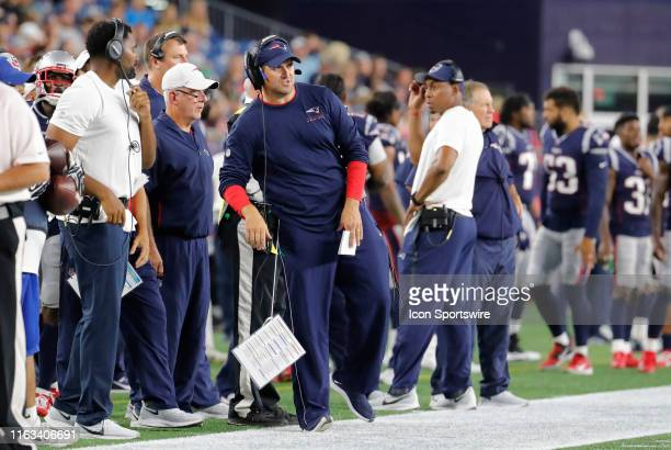 New England Patriots special teams coordinator / wide receivers coach Joe Judge during a preseason game between the New England Patriots and the...