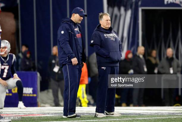 New England Patriots special teams coordinator / wide receivers coach Joe Judge and New England Patriots head coach Bill Belichick before an AFC Wild...