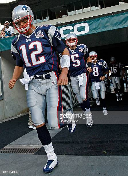 New England Patriots starting quarterback Tom Brady leads the charge with the three men battling to be his back up Kevin O'Connell Brian Hoyer and...