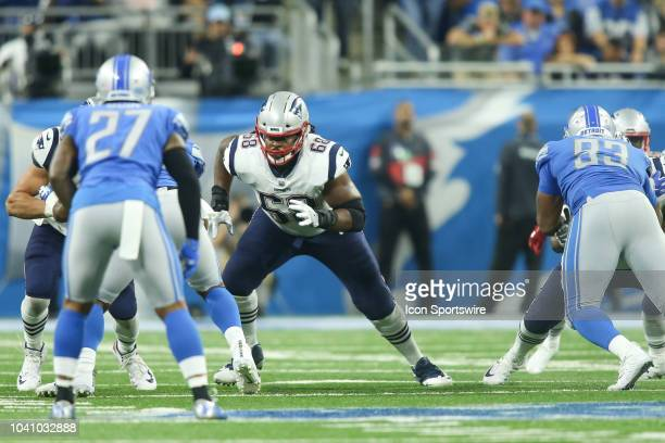 New England Patriots tackle LaAdrian Waddle blocks during a regular season game between the New England Patriots and the Detroit Lions on September...