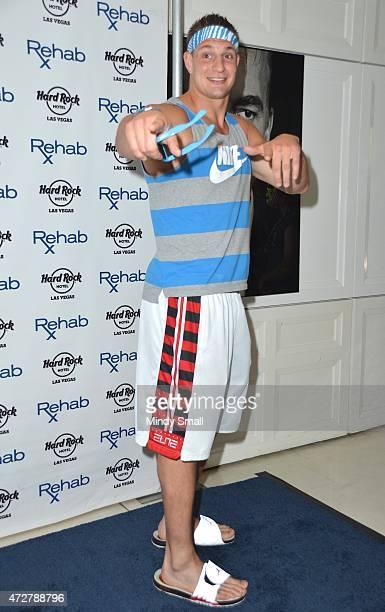 New England Patriots tight end Rob Gronkowski celebrates his birthday at Rehab at the Hard Rock Hotel Casino on May 9 2015 in Las Vegas Nevada