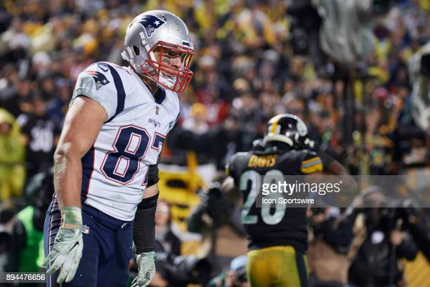 New England Patriots tight end Rob Gronkowski looks on after catching the ball for the 2 point conversion in the fourth quarter during a week 15 game...