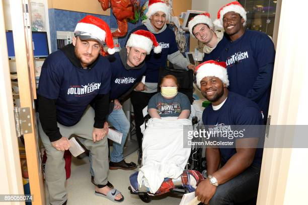 New England Patriot's Trevor Reilly Jacob Hollister Derek Rivers Cody Hollister Phillip Dorsett and Dwayne Allen visit Jack at Boston Children's...