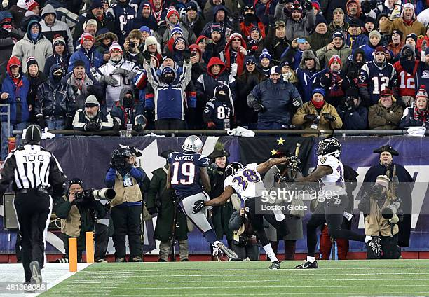 New England Patriots wide receiver Brandon LaFell is in the end zone with the game winning touchdown reception to give New England a 3531 lead in the...