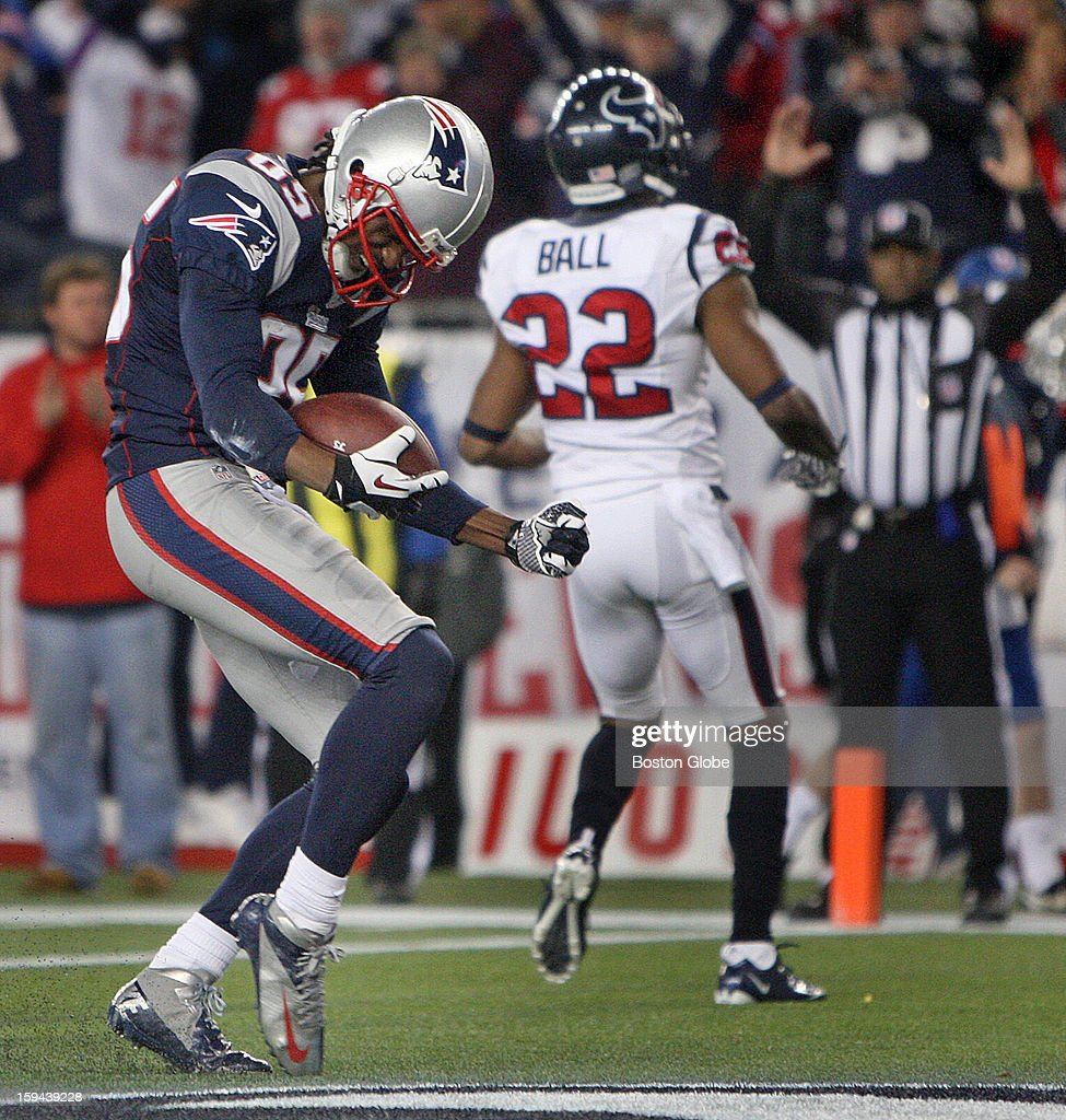 New England Patriots wide receiver Brandon Lloyd (#85) dances in the end zone after a 5-yard pass reception for a touchdown in the third quarter as the New England Patriots hosted the Houston Texans in an NFL AFC Divisional Playoff Game at Gillette Stadium, Jan. 13, 2013.