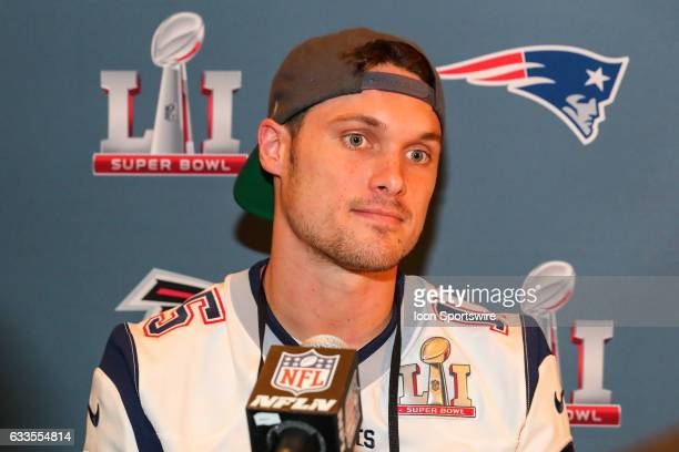 New England Patriots wide receiver Chris Hogan answers questions from the media during the New England Patriots Press Conference on February 02 at...