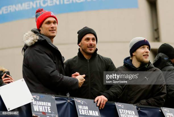 New England Patriots wide receiver Chris Hogan New England Patriots wide receiver Danny Amendola and during the Patriots Victory Parade through the...
