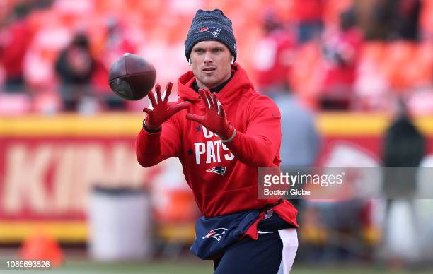 New England Patriots wide receiver Chris Hogan warms up a couple of hours before kickoff The Kansas City Chiefs host the New England Patriots in an...