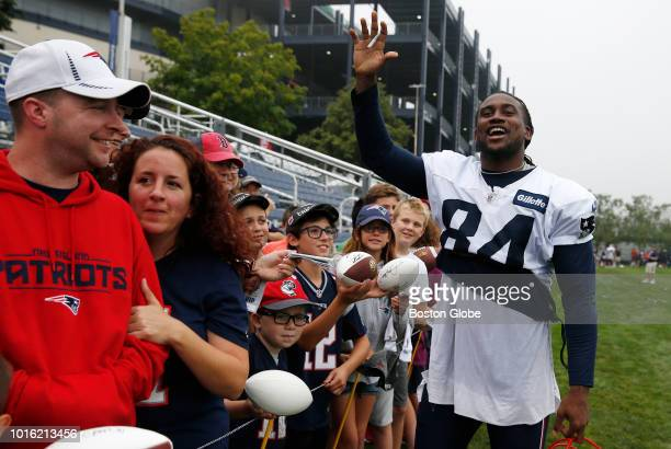 New England Patriots wide receiver Cordarrelle Patterson jokingly asks Julian Edelman to sign an autograph for him at the end of the day of New...