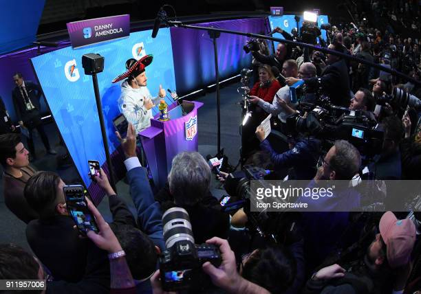 New England Patriots Wide Receiver Danny Amendola answers questions while wearing a sombrero a member of the media gave him during Super Bowl LII...