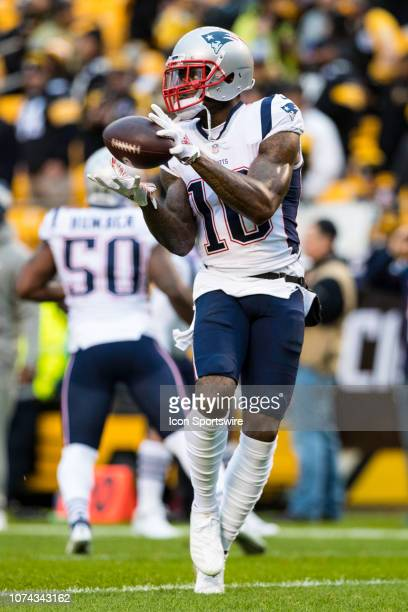 New England Patriots wide receiver Josh Gordon catches a pass before the NFL football game between the New England Patriots and the Pittsburgh...