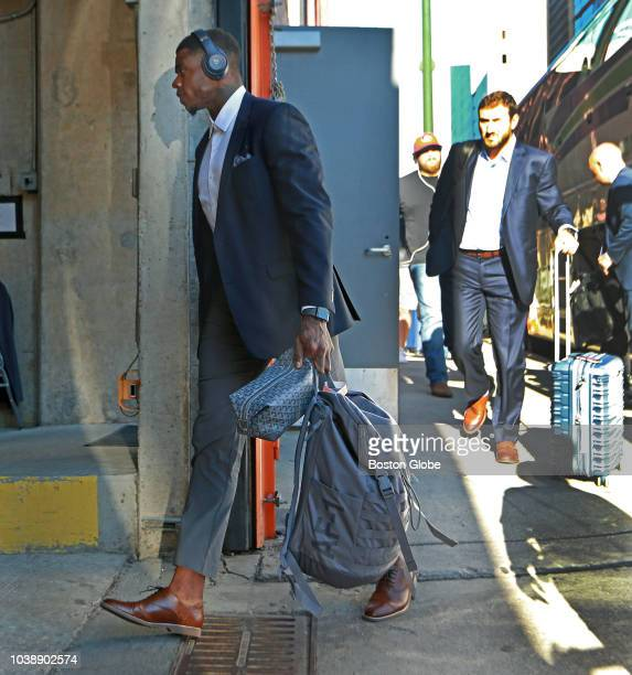 New England Patriots wide receiver Josh Gordon gets off the team bus and heads into the stadium with his teammates The New England Patriots visited...