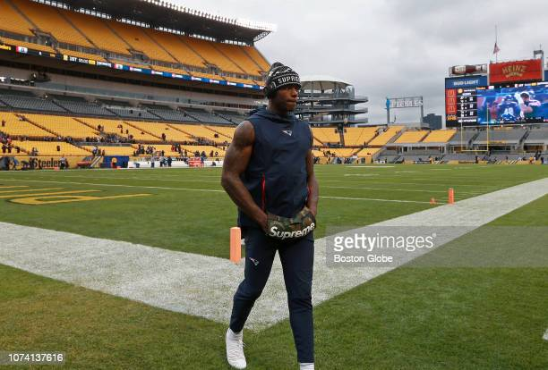 New England Patriots wide receiver Josh Gordon heads off the field after doing a pregame walk around The New England Patriots visit the Pittsburgh...