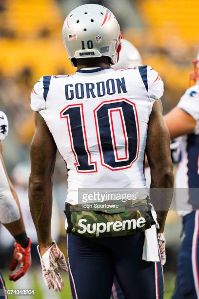 New England Patriots wide receiver Josh Gordon looks on during the NFL football game between the New England Patriots and the Pittsburgh Steelers on...