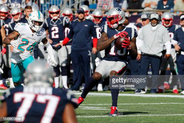 New England Patriots wide receiver Josh Gordon makes a reception during a game between the New England Patriots and the Miami Dolphins on September...