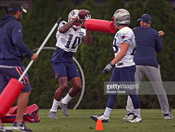 New England Patriots wide receiver Josh Gordon takes part in a drill during New England Patriots practice at the Gillette Stadium practice facility...