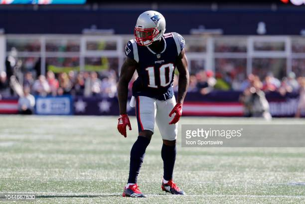 New England Patriots wide receiver Josh Gordon waits for the snap during a game between the New England Patriots and the Miami Dolphins on September...