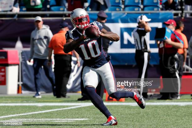 New England Patriots wide receiver Josh Gordon warms up before a game between the New England Patriots and the Miami Dolphins on September 30 at...