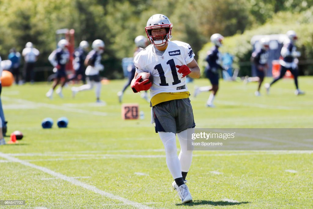 New England Patriots wide receiver Julian Edelman (11) with the ball during New England Patriots OTA on May 31, 2018, at the Patriots Practice Facility in Foxborough, Massachusetts.