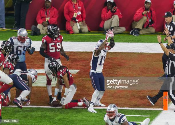 New England Patriots wide receiver Malcolm Mitchell celebrates after New England Patriots running back James White made the winning touchdown in...