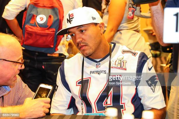 New England Patriots wide receiver Michael Floyd answers questions from the media during the New England Patriots Press Conference on February 02 at...