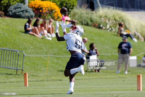 New England Patriots wide receiver NKeal Harry hauls in a pass during Patriots Training Camp on August 2 at their training facility outside Gillette...