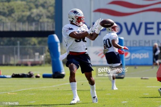 New England Patriots wide receiver NKeal Harry makes a grab during New England Patriots Training Camp on July 26 at the Patriots Practice Facility at...