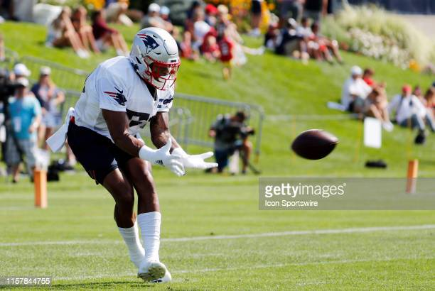 New England Patriots wide receiver NKeal Harry makes a reception during New England Patriots Training Camp on July 26 at the Patriots Practice...