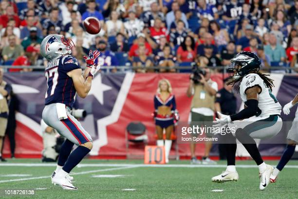 New England Patriots wide receiver Riley McCarron fields a punt during a preseason NFL game between the New England Patriots and the Philadelphia...