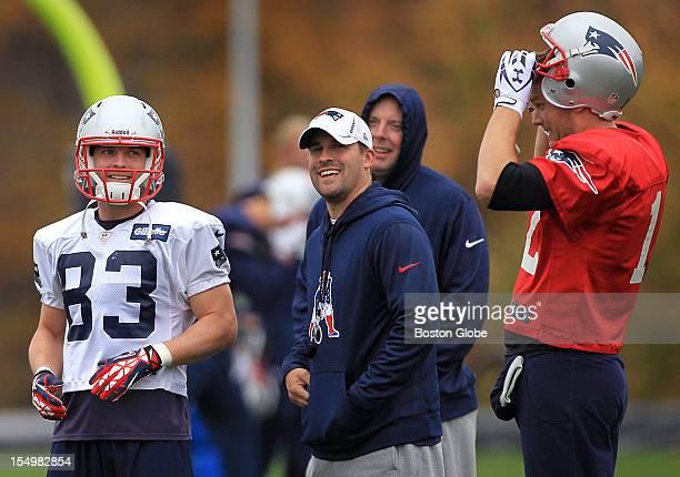 New England Patriots wide receiver Wes Welker Offensive Coordinator/Quarterbacks coach Josh McDaniels and Patriots quarterback Tom Brady share a...