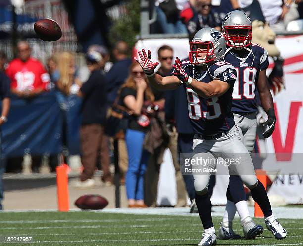 New England Patriots wide receiver Wes Welker pulls in a pass during pre game warmups before the Patriots play the Arizona Cardinals at Gillette...